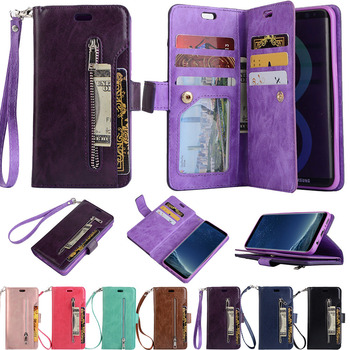 LAPOPNUT Zipper Wallet Phone Case for Samsung Galaxy S20 Ultra 5G S8 S9 S10e S10 Plus S7 Edge Note10 8 9 Leather Magnetic Cover