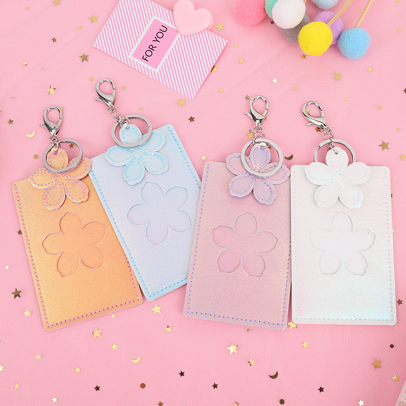 Laser PU ID Card Retractable Badge Holder Fashion Gradient Color Hollow Student Id Card Holder Stainless Keychain Accessories