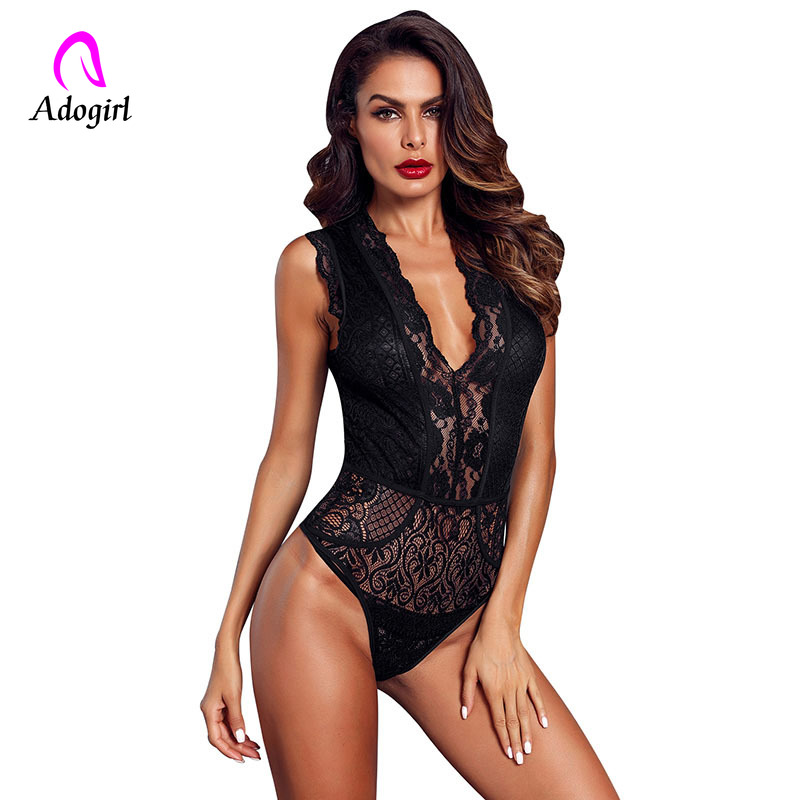 Burgundy Woman Deep V Neck Hollow-out Floral Lace Bodysuit Summer 2019 Female Sleeveless Sheer Body Top Catsuit Ladies Bodysuits