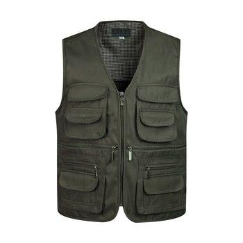 2019 Men Multi-Pocket Classic Waistcoat Male Sleeveless Unloading Solid Coat Work Vest Photographer Tactical Mesh Vest Jacket
