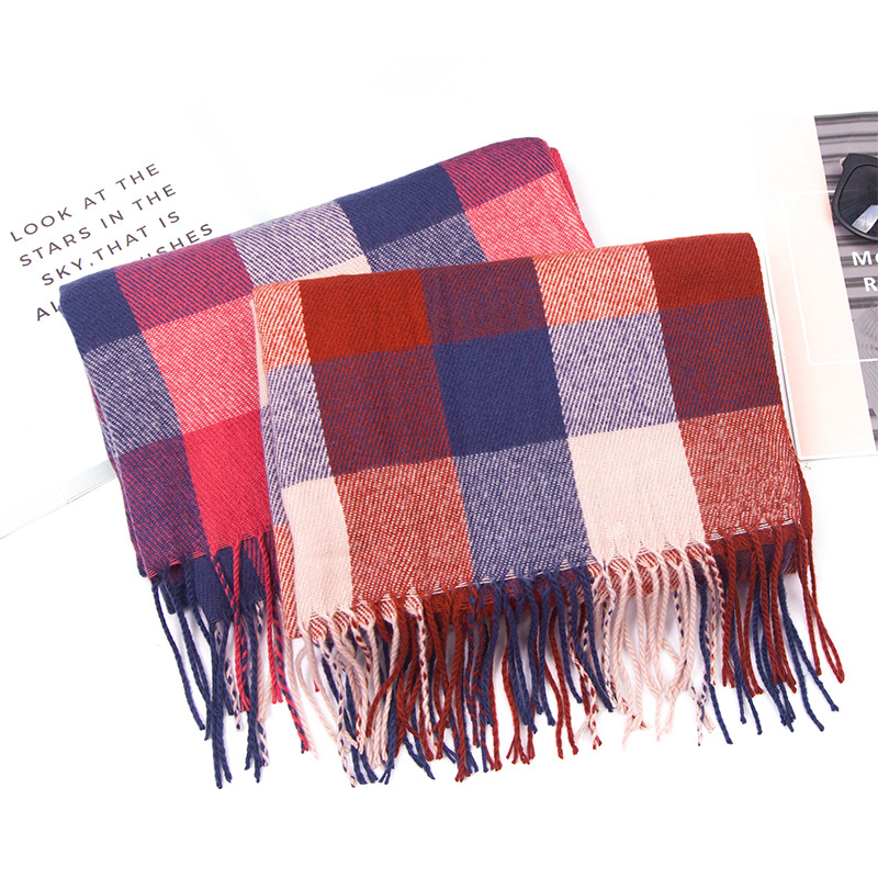 2019 Europe And America Autumn And Winter Faux Cashmere Is Four-Sided Plaid Tassels Scarf Women's Scarf Extra-large Shawl