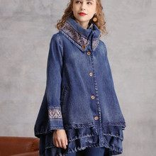 Coats Denim Embroidery Irregular Chinese-Trench Vintage Women New-Fashion TIYIHAILEY