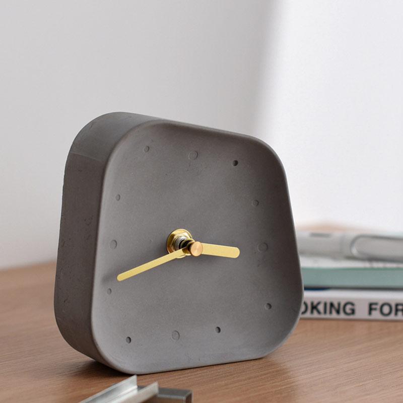Hd463672a3b8b403c923e7b16555cf9fcz Table Clock Desktop Decoration Mute Concrete Small Desk Clock