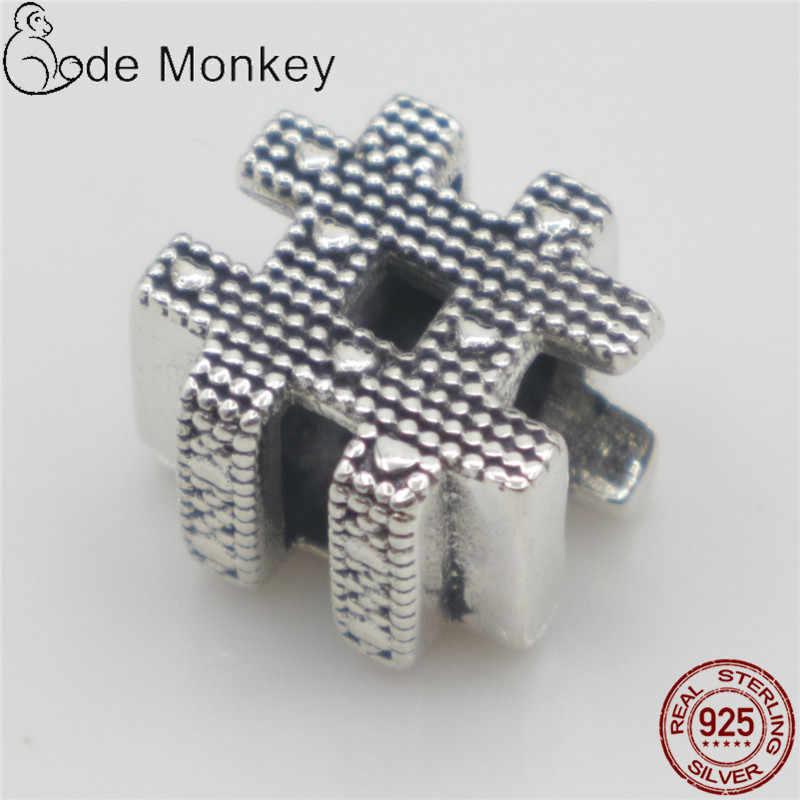 CodeMonkey 100% เงินแท้ 925 ป้ายสัญลักษณ์ลูกปัดพอดีสร้อยข้อมือเดิมเครื่องประดับ DIY ทำผู้หญิงของขวัญ CMS1506