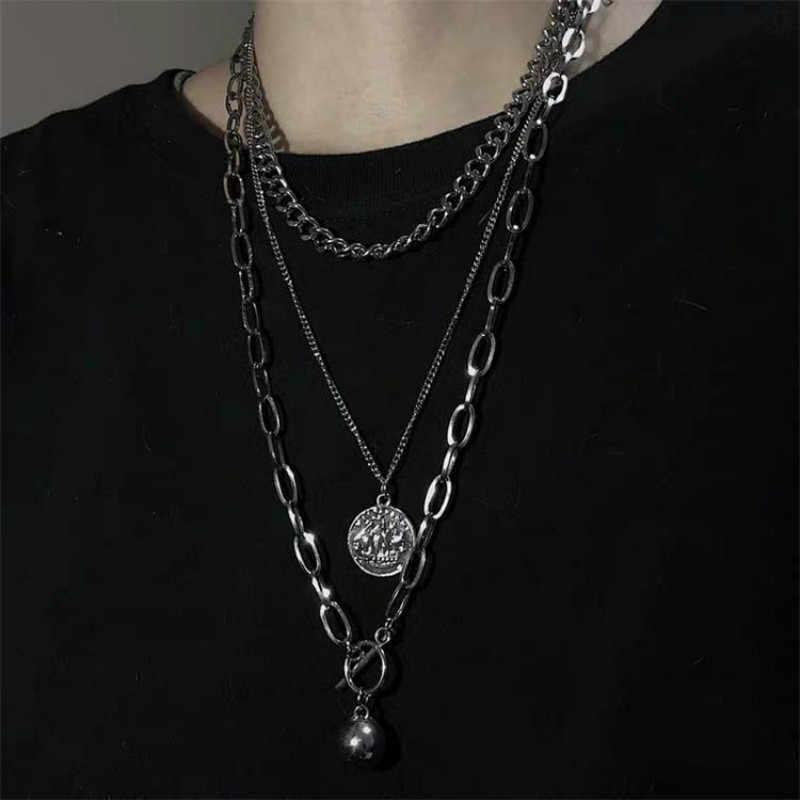 Moda Rock trzy warstwy naszyjnik monety metalowe piłka Multi-warstwa 3 sztuk łańcuszek mężczyzn i kobiet akcesoria mody wełna łańcuch
