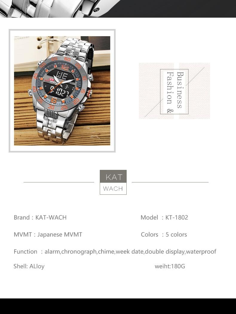 Kt masculino quartzo analógico relógio digital luxo