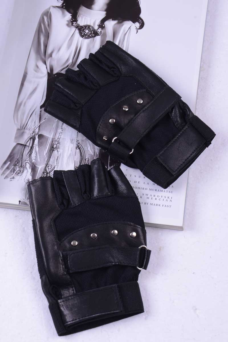 Men Soft Sheep Leather Half Finger Male Driving Motorcycle Biker Fingerless Gloves Men High Quality Warm Gloves Gant Hiver Homme
