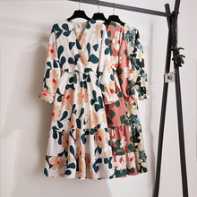 Autumn Print Midi Dress Women Vintage Casual All-match V Neck Flower Dress Korean S-XL Loose White Long Sleeve Dresses Elegant korean kawaii black elegant dress long sleeve button turn down collar autumn dress women s xl sweet simple casual dresses ladies