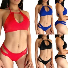 Sexy Bras women  Push Up Big Size Bandage Bra Lingerie Set Pure Color Underwear Backless Halter S-3XL