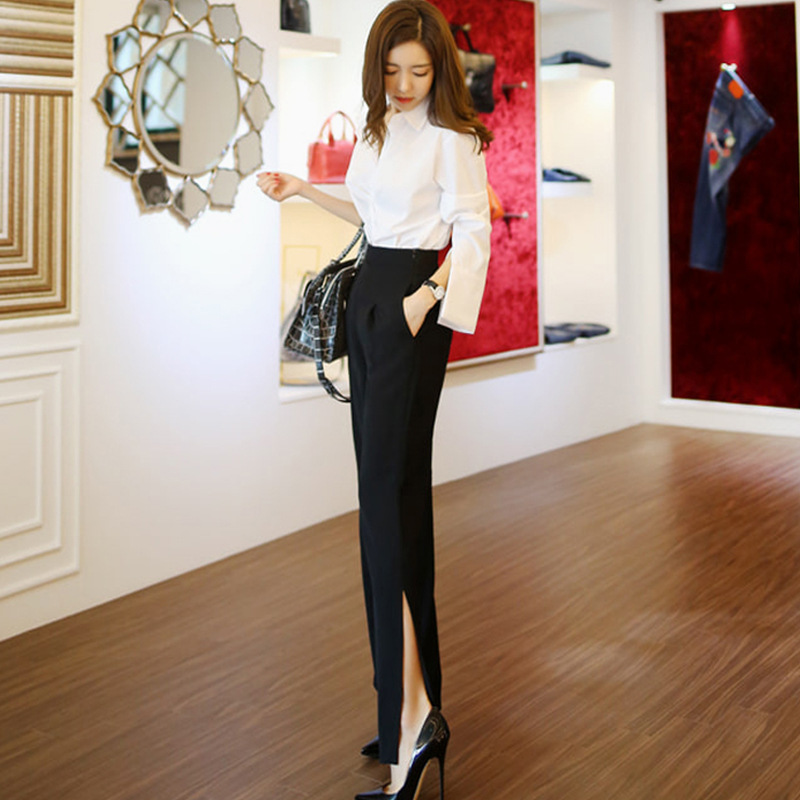 2019 Spring Clothing New Products Ol Career Elegant White Collar White Shirt Loose-Fit Slimming Loose Pants Casual Pants Two-Pie