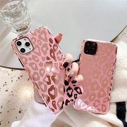Kowkaka-funda brillante de leopardo para iPhone, carcasa de espejo rosa para iPhone 12 Mini 11 Pro Max X XR XS Max 7 8 Plus SE 2020