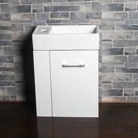 Panana Cloakroom High Gloss Vanity Unit Basin Small Bathroom Sink with Storage Cabinet Floorstanding Furniture