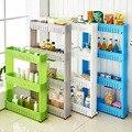 Space Rack with Roller Kitchen Organizer Storage Shelf Plastic Subdries Rack Movable Interspace Storage Racks Refrigerator