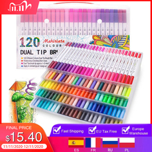 Dual Tip Art Markers 60/100/120 Colors Calligraphy Watercolour Paint Brush Pen Set for Adult Colouring Books