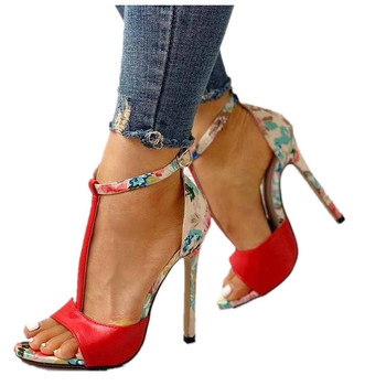 Sandals T-Strap High Heels  1