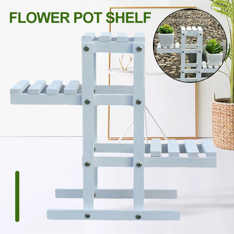 Planta de madera blanca estante para maceta con flores soporte de jardín balcón estante de exhibición forjado Multi-capa decoración Interior espacio del piso