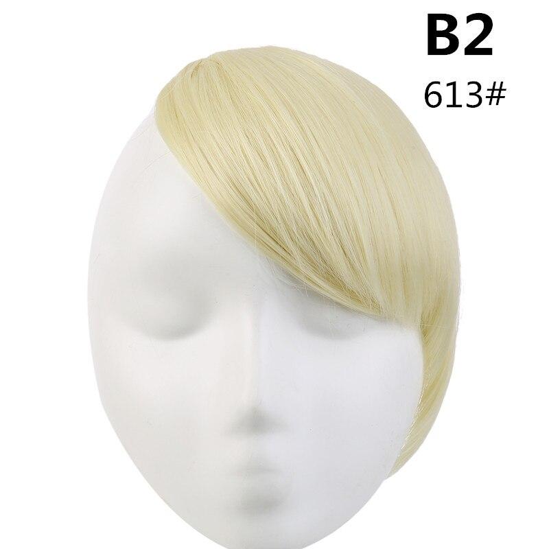 SARLA волосы челка клип в подметание боковая бахрома поддельные накладные взрыва натуральные синтетические волосы кусок волос черный коричневый B2 - Цвет: 613
