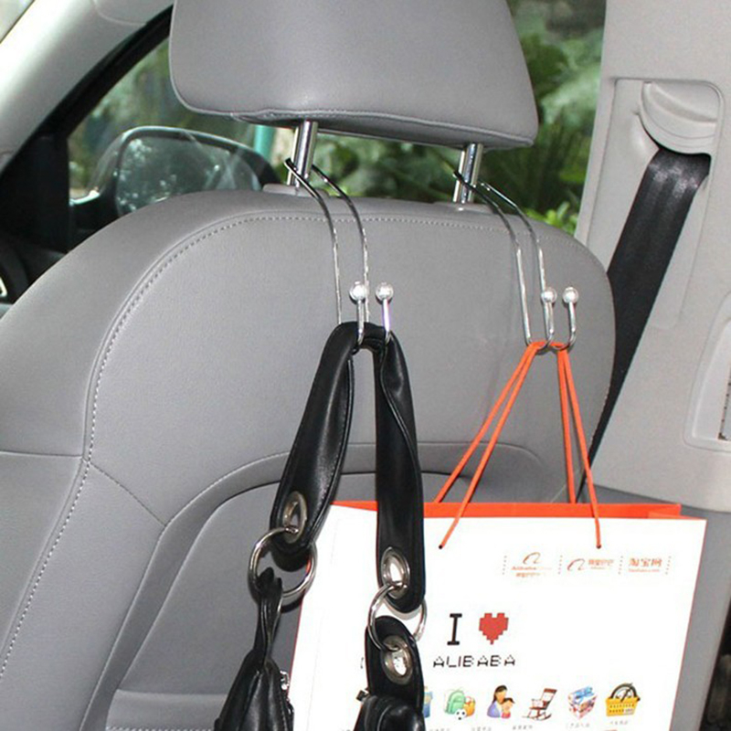 2PCS Metal Auto Car Seat Headrest Hanger Bag Hook Holder For Bag Purse Cloth Grocery Storage Auto Car Accessories Fastener TSLM2