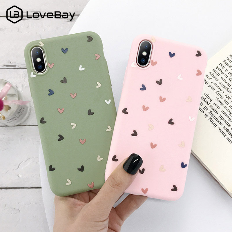 Lovebay Phone Case For IPhone 11 Love Heart For IPhone 7 8 6 6s Plus X XR XS Max 11 Pro 5 5s SE Candy Color Soft TPU Back Cover
