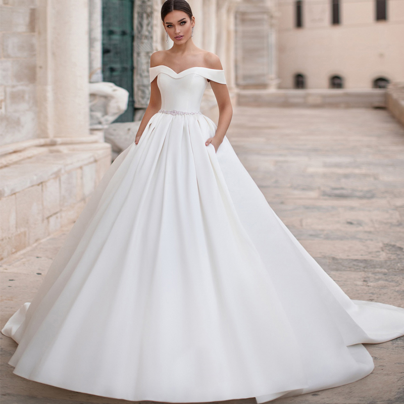 Detmgel Romantic Boat Neck Lace Up Matte Satin A-Line Wedding Dresses 2019 Luxury Sashes Beaded Princess Wedding Gown Plus Size