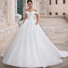 Detmgel Romantic Boat Neck Lace Up Matte Satin A-Line Wedding Dresses 2019 Luxury Sashes Beaded Princess Gown Plus Size