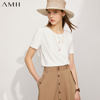 Amii Minimalism Summer New Women's Tshirt Tops Fashion Cotton Embroidery Oneck Tshirt For Women Causal  Women Shirts 12120215 1
