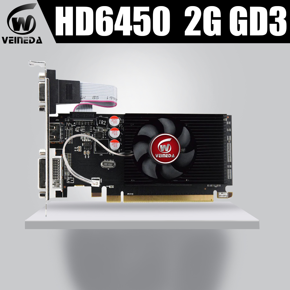 Veineda placas gráficas hd6450 2 gb ddr3 hdmi placa de vídeo gráfica high-end placa de vídeo do jogo hd6450