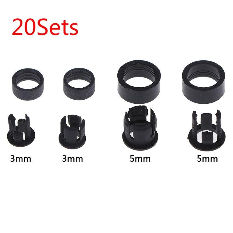 20Set 3mm/5mm Black Plastic LED Clip Holder Case Cup Bezels Mounting Cases