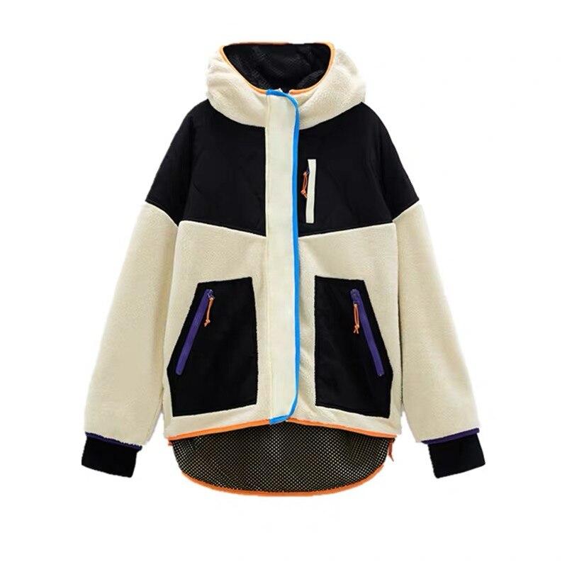 Женская куртка из овечьей шерсти Za, повседневная Толстая Свободная куртка оверсайз на молнии в стиле пэчворк, новинка зимнего сезона 2020|Куртки| | АлиЭкспресс