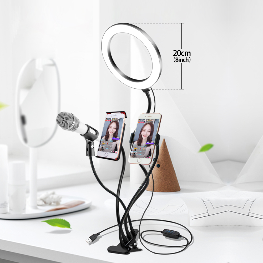 4 In 1 LED Ring Light Makeup Selfie Lamp 3200K-5500K 3 Colors Photographic Light With Tripod Phone Holder USB Plug Photo Studio