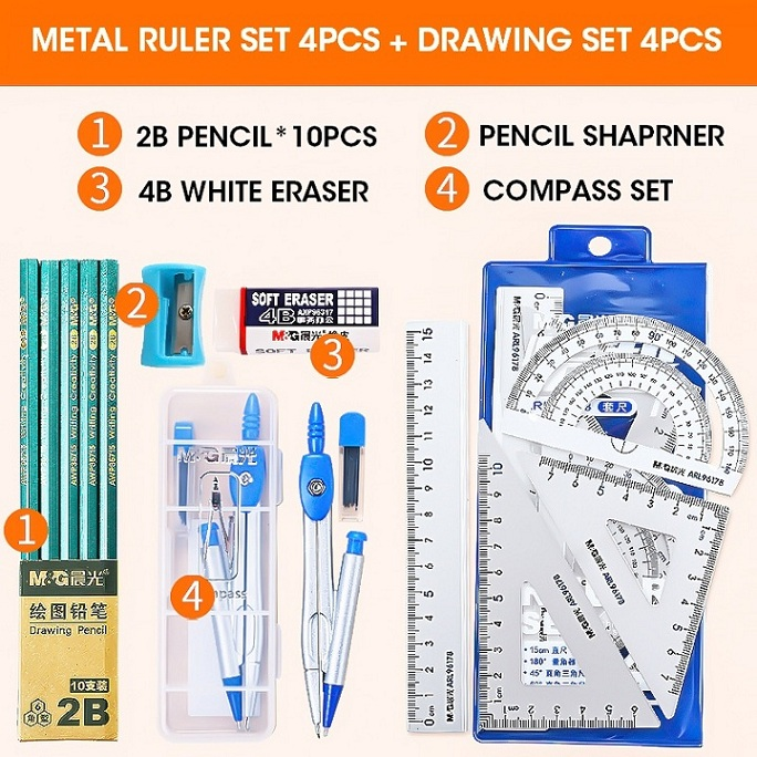 Ruler Geometry Compass Sets Multifunction Math Kit Suitable for Technical Drawing Student Exam Stationery Gift 9pcs