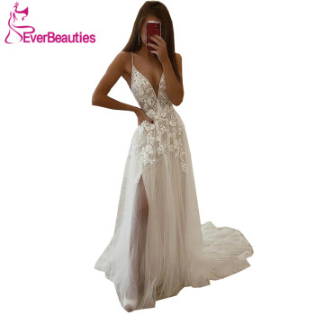 Bohemian Wedding Dress 2020 Boho Country Bridal Gown Tulle Lace Vestido De Noiva Side Split Robe De Mariee свадебное платье