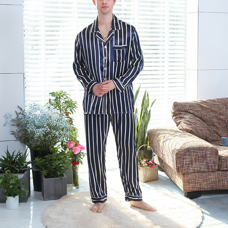 Men Sleepwear Tops Pants Suits Stripe Long Sleeve Lapel Pocket Thin Casual Autumn Winter Male Nightwear Pajama Sets