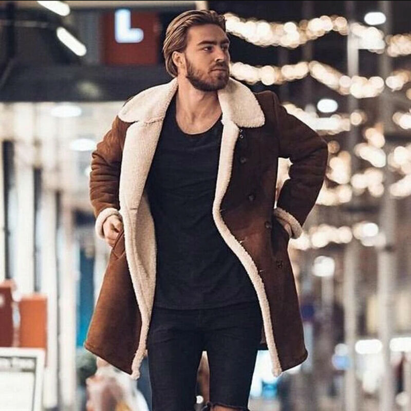 Men Faux Fur Lambswool Brown Jacket Winter Warm Coat Buttom Outwear Long Thicken Parka Lot Casual M-3L