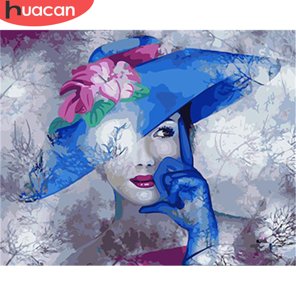 HUACAN Painting By Numbers Girl HandPainted Kits Drawing Canvas DIY Oil Pictures By Numbers Portrait Home Decor
