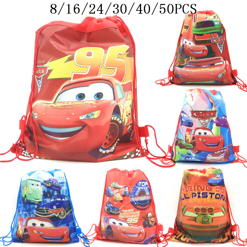 8/16/24/50PCS Cars Lightning McQueen Birthday Party Gifts Non-woven Drawstring Bags Kids Boy Favor Swimming School Backpacks