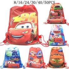 8/16/24/50 coches de PCS Rayo McQueen regalo fiesta de cumpleaños no tejida bolsas niños niño Favor escuela mochilas