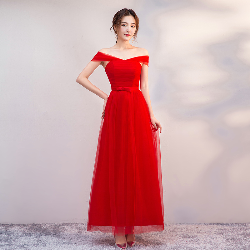 Off The Shoulder Sleeveless Bridesmaid Dress Long Red Elegant Dress Women For Wedding Party Sexy Dress Prom Azul Royal Vestidos