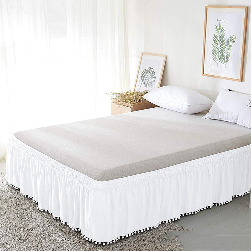 Twin/Full/Queen/King Size Bed Skirt with Tassels Elastic Band Bed Skirt Bed Cover without Surface Hotel Bed Cover Bedding Decor