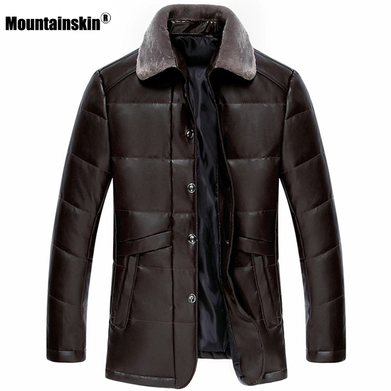 Mountainskin New Thick Leather Jacket Mens Winter Autumn Men's Fashion Solid Color Windproof Warm Coat Male Brand Clothing SA793