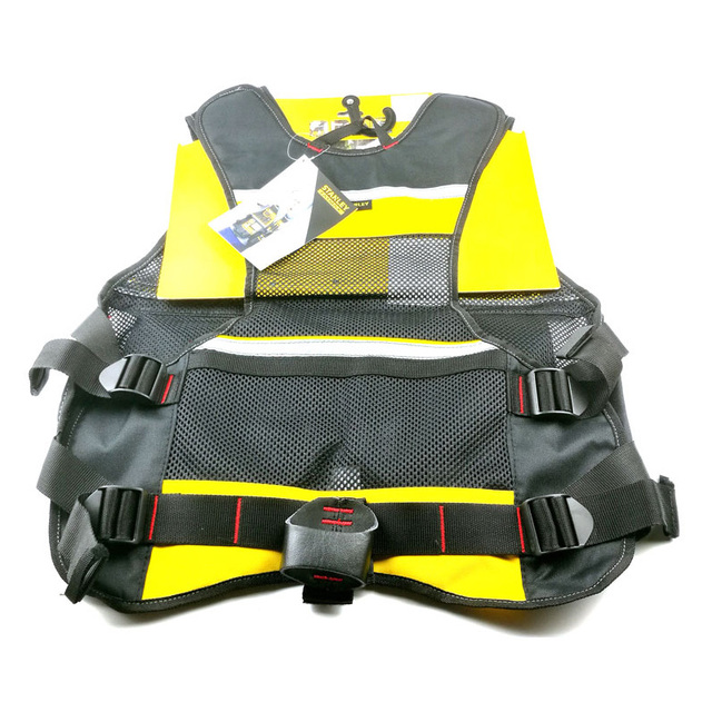 Stanley Fatmax multi pocket vest for tools in black yellow reflective safety strip adjustable strap workwear men work tool vests 3