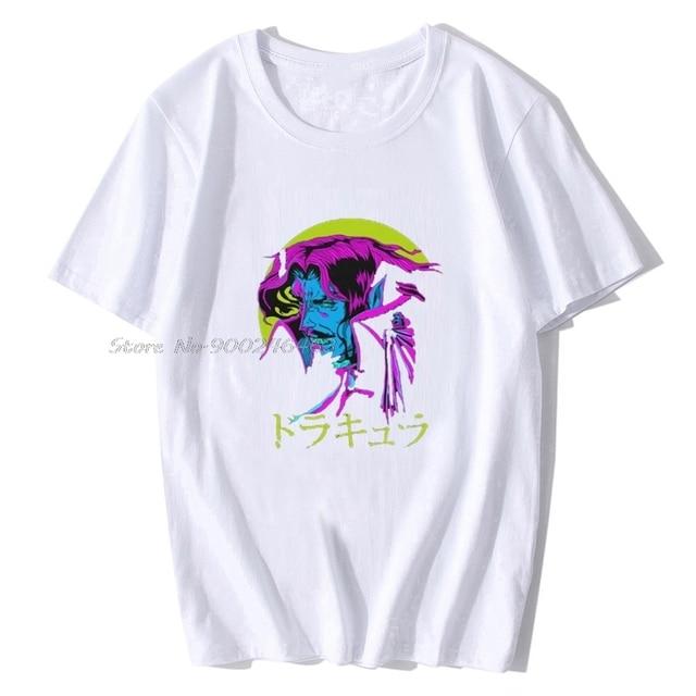 Imprimé Camiseta Dracula texte japonais Castlevania hommes T-Shirt été coton femmes T-Shirt Anime t-shirts Harajuku