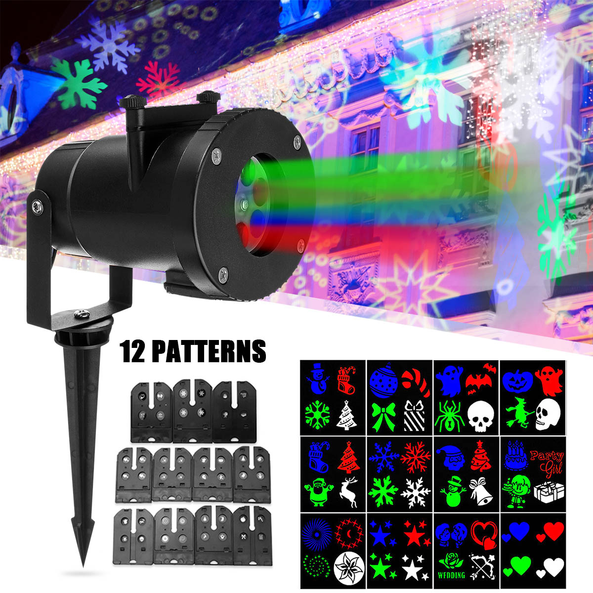 EU/US Plug 110-240V Festival Christmas Film Projector Lamp Upgrade With White Light Beads Holiday Lighting 275*135mm