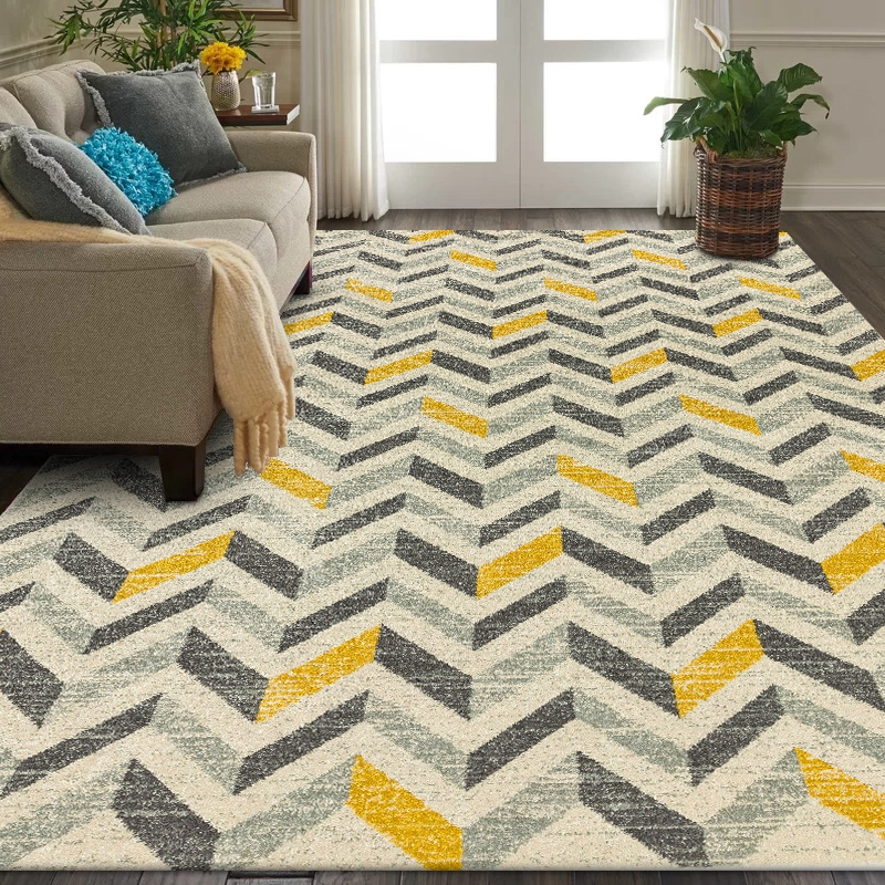 Nordic Style Gray Yellow Geometric Carpet And Rug Living Room Sofa Table Non-Slip Floor Mat Kids Play Game Tent Bedroom Area Rug