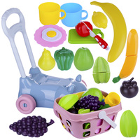 18Pcs Children Pretend Play Girl Shopping Cart Toy Simulation Kitchen Fruits Vegetables Cutting Playset
