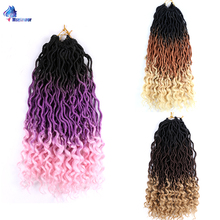Curly Faux Locs Hair Braids Extension Ombre Crochet