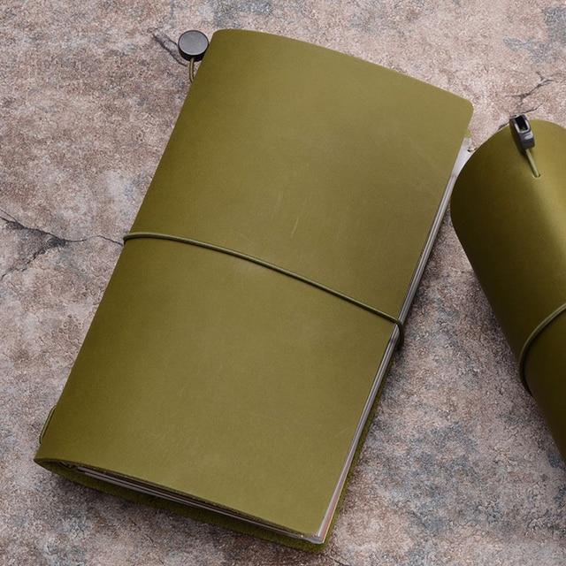 Traveler's Notebook A5 en cuir - Planner rechargeable - vert olive
