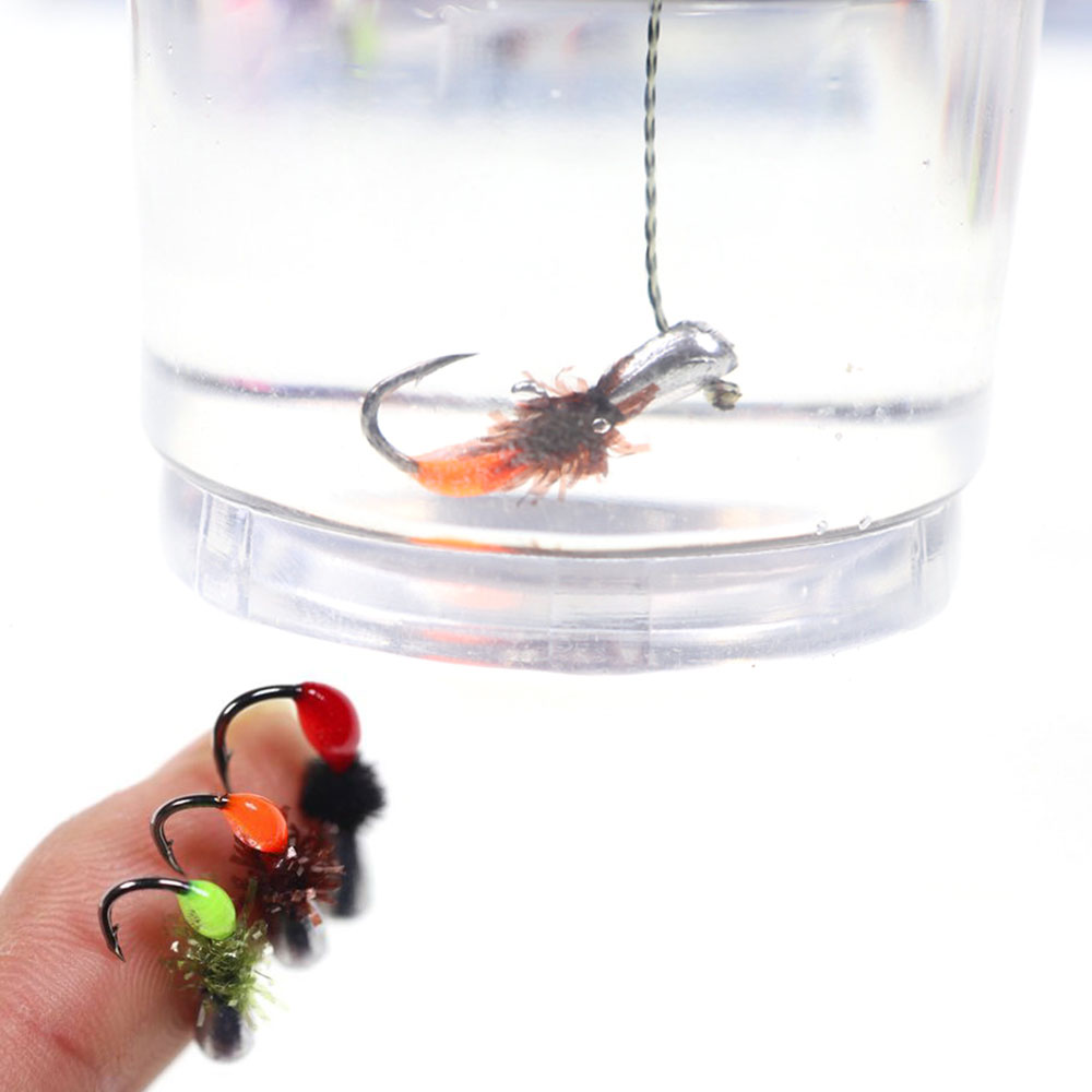 6pcs Winter Pesca Jig Lead Head Hooks Fast Sinking Fly Bait Weighted Fishing Fly Worms Ice Jigging Fishing Mini Lure