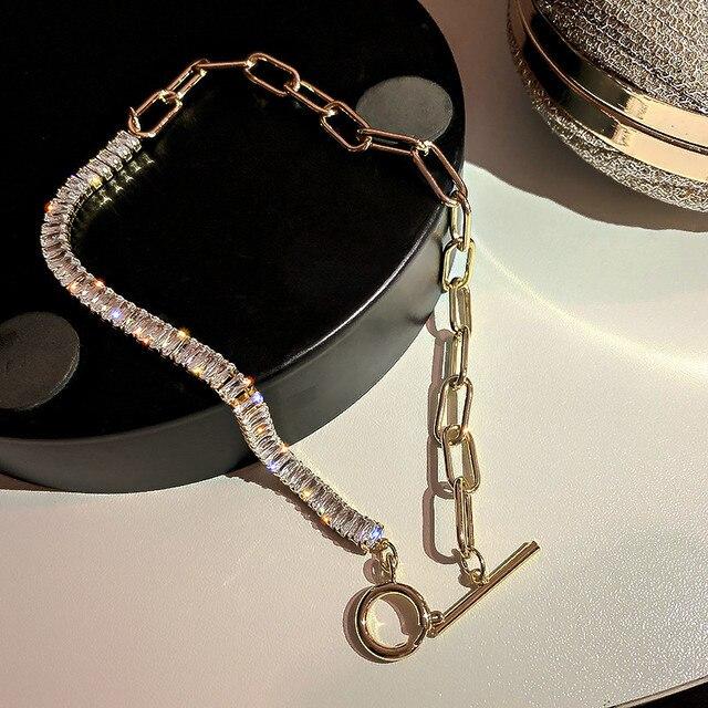 Crystal Choker Necklaces Geometric Statement Jewelry  1