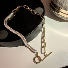 FYUAN Zircon Crystal Choker Necklaces for Women Geometric Rhinestone Necklaces Statement Jewelry Gifts